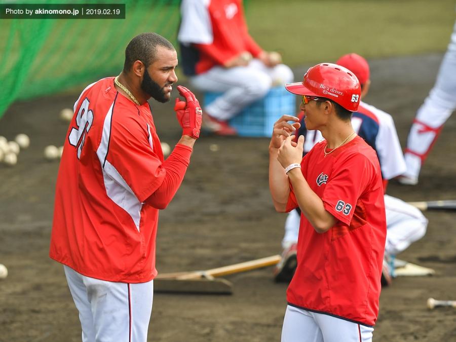 春季沖縄キャンプでのメヒア選手(2019年)