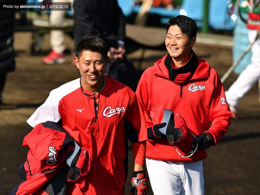 中田廉投手と横山弘樹投手(春季日南キャンプ2019)
