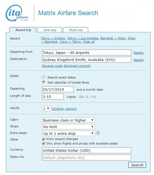 1カンタス航空のビジネスクラスで東京(HND)からシドニー(SYD)までのオーストラリアへの往復航空運賃が$ 1,918から