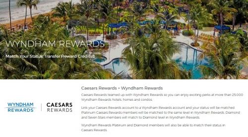 1ウィンダムリワードへのステータスマッチで_ Caesars Rewardsの上級会員が付属します。