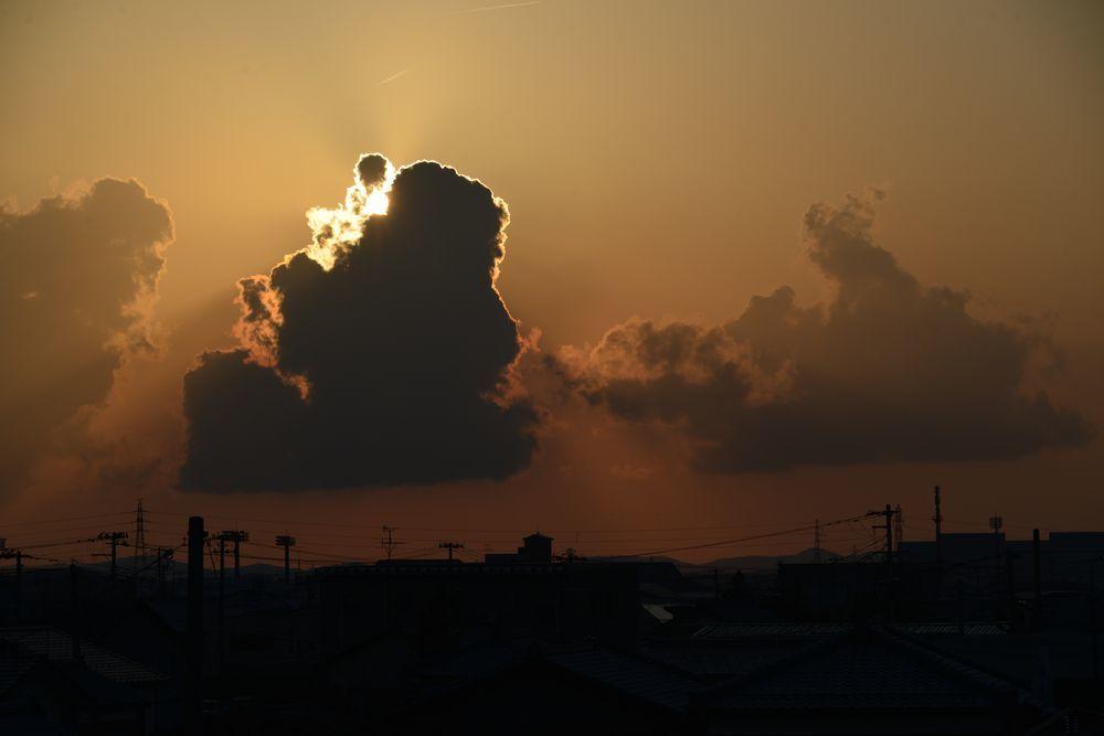 久し振りの夕陽-1