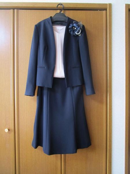 オンワード23区 洗える トリアセダブルジョーゼットノーカラージャケット スカート