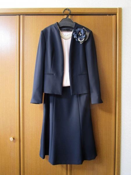 23区 洗える トリアセダブルジョーゼットノーカラージャケット スカート (1)