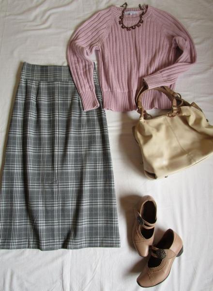 4.PLSTチェックマキシ丈スカートの着回し (7)