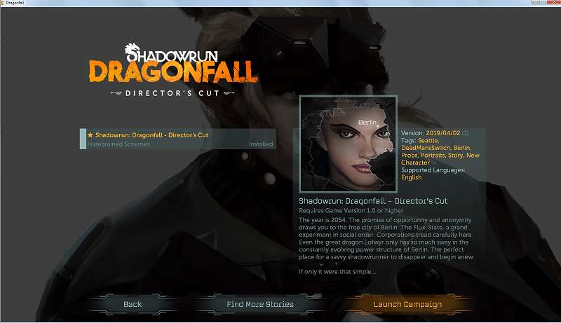 GOG 版 Shadowrun Dragonfall Director's Cut で Dead Man's Switch を表示・プレイする方法、Steam 版も含め Shadowrun Dragonfall Director's Cut では Dead Man's Switch が表示されない