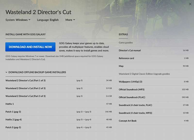 PC 版 Wasteland 2 Director's Cut 日本語方法、GOG 版 Wasteland 2 Director's Cut gog-5 版 インストール