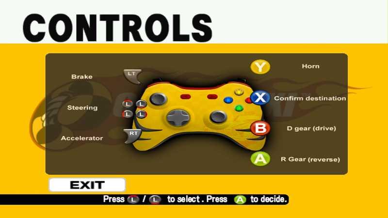 Steam 版 Dreamcast Collection 日本語化メモ、Crazy Taxi ゲーム画面、英語版だと操作方法を選択すると Xbox 360 コントローラー画面が表示
