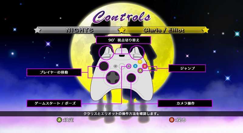 Steam 版 Dreamcast Collection 日本語化メモ、NiGHTS Into Dreams ゲーム画面、日本語表示確認