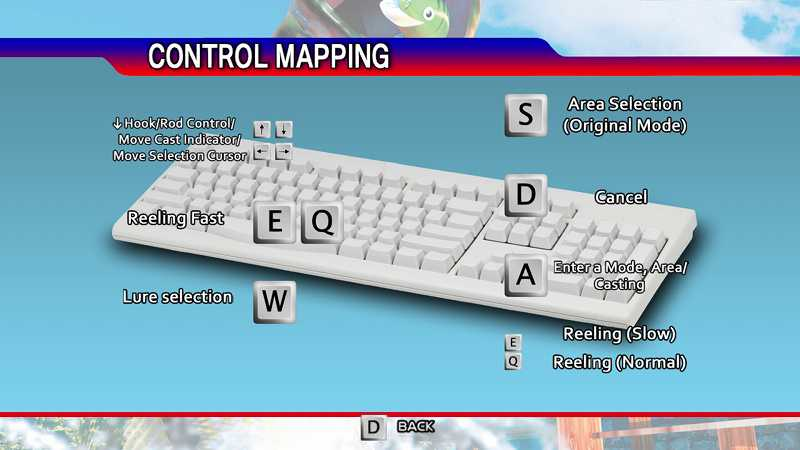 Steam 版 Dreamcast Collection 日本語化メモ、SEGA Bass Fishing ゲーム画面、英語版だと操作方法を選択してキーボード入力するとキーボード画面が表示