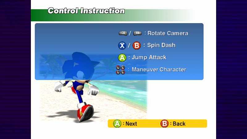 Steam 版 Dreamcast Collection 日本語化メモ、Sonic Adventure DX ゲーム画面、英語版キャラクター操作方法にはボタンアイコンは Xbox 360 コントローラーボタンが表示