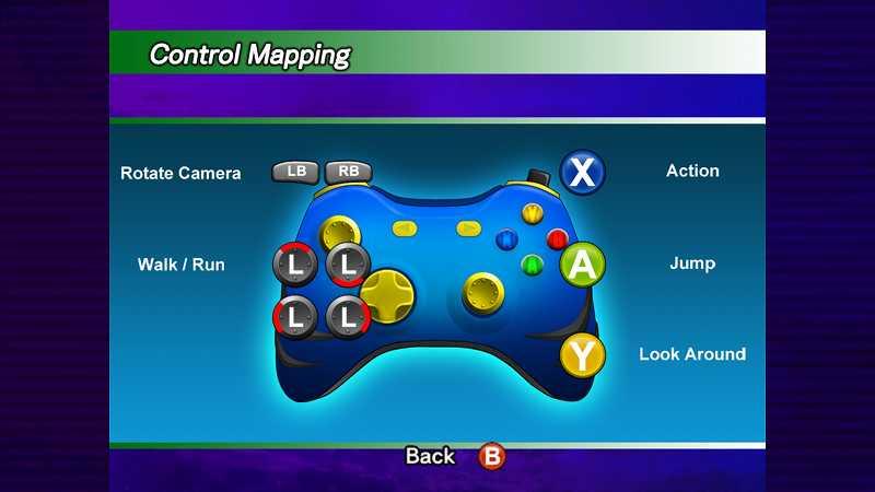 Steam 版 Dreamcast Collection 日本語化メモ、Sonic Adventure DX 英語版の操作方法画面、デフォルトは Xbox 360 コントローラーボタン