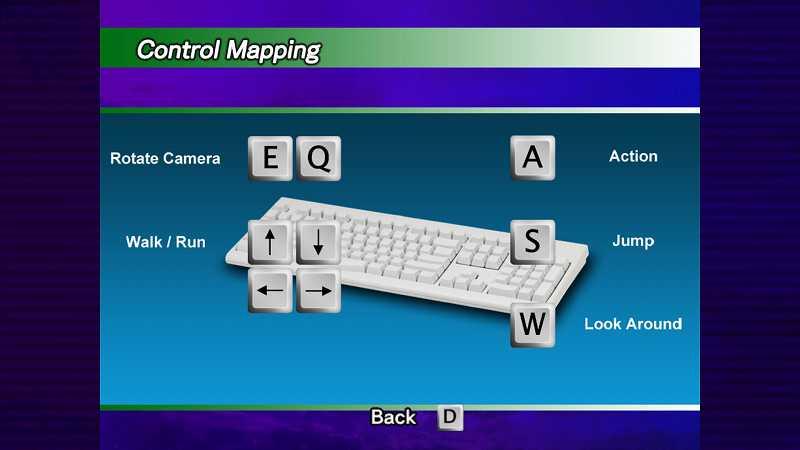 Steam 版 Dreamcast Collection 日本語化メモ、Sonic Adventure DX 英語版の操作方法画面、キーボード入力するとキーボード画面に切り替わる