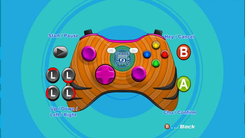 Steam 版 Dreamcast Collection 日本語化メモ、Space Channel 5: Part 2 ゲーム画面、英語版での操作方法には Xbox 360 コントローラーに操作ボタンが表示される