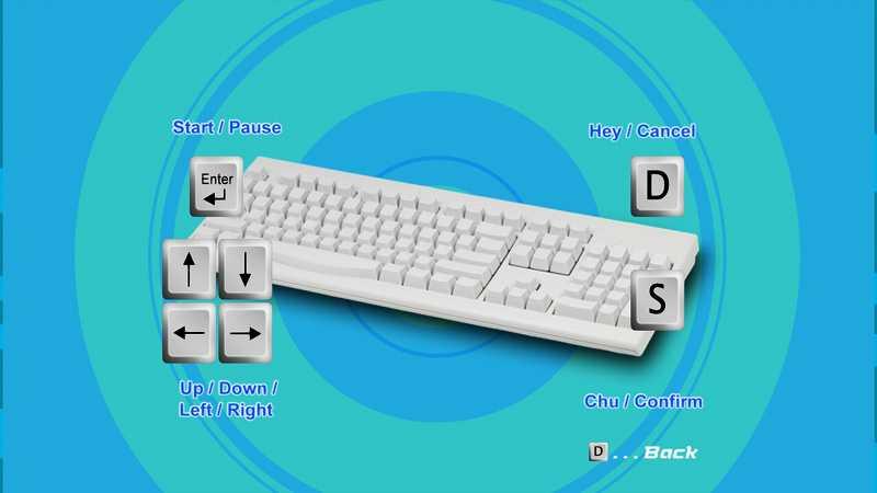 Steam 版 Dreamcast Collection 日本語化メモ、Space Channel 5: Part 2 ゲーム画面、英語版での操作方法にはキーボードに操作ボタンが表示される