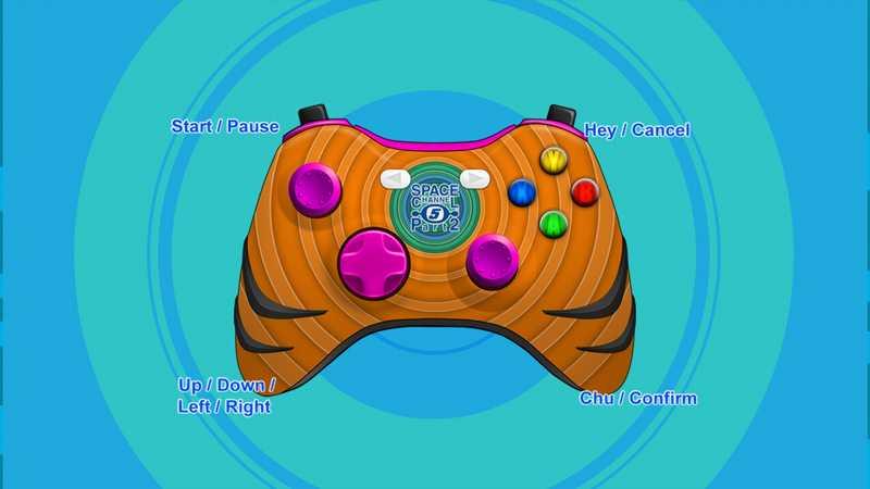 Steam 版 Dreamcast Collection 日本語化メモ、Space Channel 5: Part 2 ゲーム画面、日本語化後操作方法の Xbox 360 コントローラーに操作ボタンが表示されない