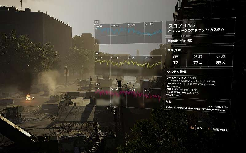 PC ゲーム ディビジョン2(Tom Clancy's The Division 2) のパフォーマンスを改善するグラフィックス設定メモ、ベンチマーク結果その1 カスタムプリセット ローカルリフレクション品質 低
