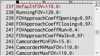PC ゲーム OUTLAST - FOV (Field of View) 変更、OLGame.ini にある DefaultFOV、RunningFOV、CamcorderNVMaxFOV、CamcorderMaxFOV の値を変更