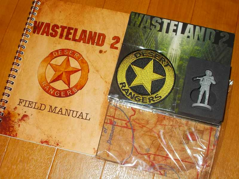 Kickstarter Reward Wasteland 2 Collector's Edition Premium Boxed Version、DESERT RANGERS FIELD MANUAL ・ Miniature ・ Map ・ Badge ・ Disc