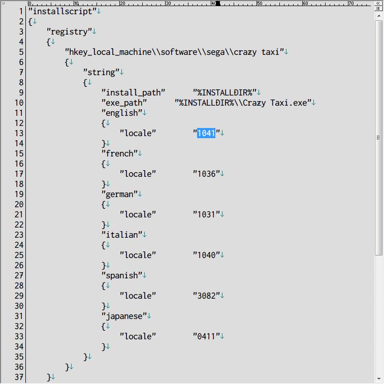 Steam 版 Dreamcast Collection 日本語化メモ、Crazy Taxi 日本語化方法、Crazy Taxi がインストールされているフォルダにある install.vdf をテキストエディタで開き、english ネスト(入れ子)にある locale 1033 を 1041 に変更して保存