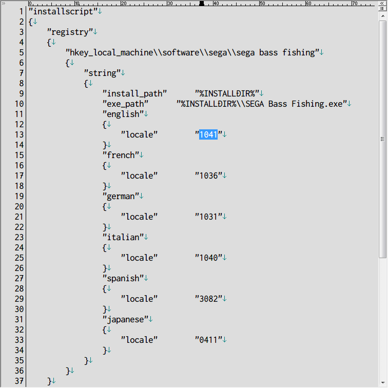 Steam 版 Dreamcast Collection 日本語化メモ、SEGA Bass Fishing 日本語化方法、SEGA Bass Fishing がインストールされているフォルダにある install.vdf をテキストエディタで開き、english ネスト(入れ子)にある locale 1033 を 1041 に変更して保存