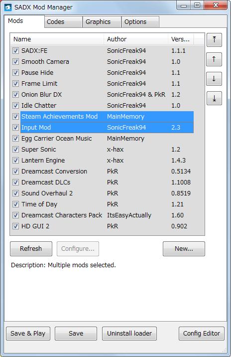 Steam 版 Sonic Adventure DX、SADX Mod Manager で Mod 有効化した状態でゲームを起動時するとコントローラー操作を受け付けない場合(デュアルショック4+Steam Big Picture モードデフォルト)の対処法、Mods タブの Mods リストにある Steam Achievements Mod より下に Input Mod を移動する、Mod 読み込み順番の変更?