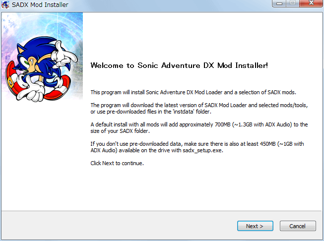 Steam 版 Sonic Adventure DX、SADX Mod Installer web version インストール、Welcome to Sonic Adventure DX Mod Installer!