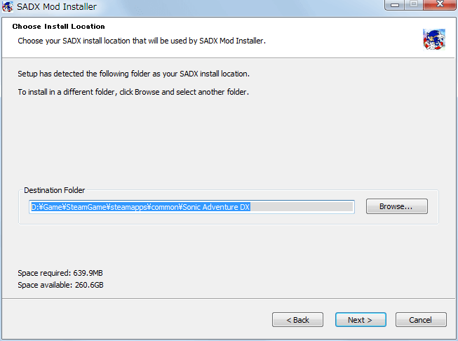 Steam 版 Sonic Adventure DX、SADX Mod Installer web version インストール、Choose Install Location