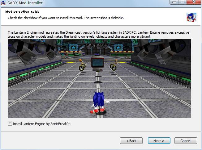 Steam 版 Sonic Adventure DX、SADX Mod Installer web version インストール、Mod selection guide - Install Lantern Engine by SonicFreak94、uncheck