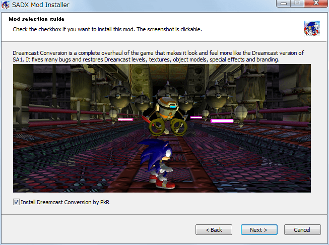 Steam 版 Sonic Adventure DX、SADX Mod Installer web version インストール、Mod selection guide - Install Dreamcast Conversion by PkR、check(Default)