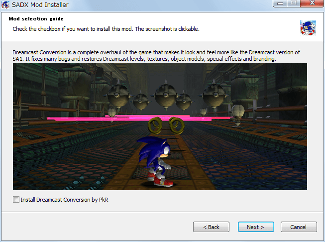 Steam 版 Sonic Adventure DX、SADX Mod Installer web version インストール、Mod selection guide - Install Dreamcast Conversion by PkR、uncheck