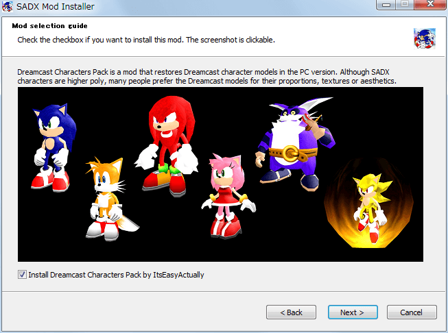 Steam 版 Sonic Adventure DX、SADX Mod Installer web version インストール、Mod selection guide - Install Dreamast Characters Pack by ItsEasyActually、check(Default)