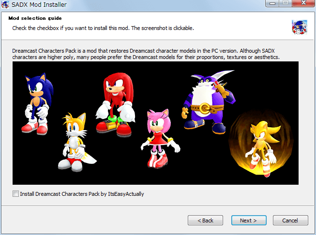 Steam 版 Sonic Adventure DX、SADX Mod Installer web version インストール、Mod selection guide - Install Dreamast Characters Pack by ItsEasyActually、uncheck