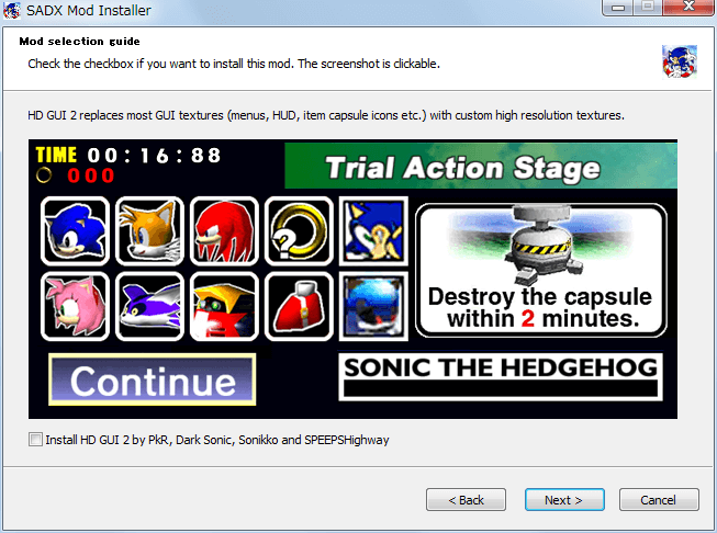 Steam 版 Sonic Adventure DX、SADX Mod Installer web version インストール、Mod selection guide - Install HD GUI 2 by PkR, Dark Sonic, Sonikko and SPEEPSHighway、uncheck