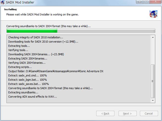Steam 版 Sonic Adventure DX、SADX Mod Installer web version インストール中