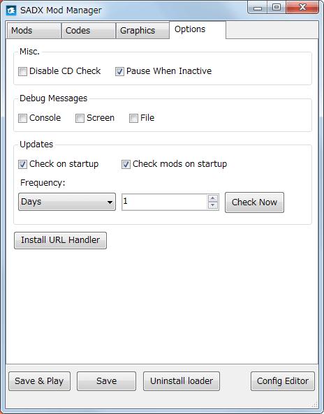 Steam 版 Sonic Adventure DX、SADX Mod Manager の Options タブ、Mod の自動アップデートチェックのオンオフとタイミング設定など