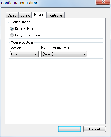 Steam 版 Sonic Adventure DX、SADX Mod Manager の Config Editor を押したときの Configuration Editor 画面の Mouse タブ