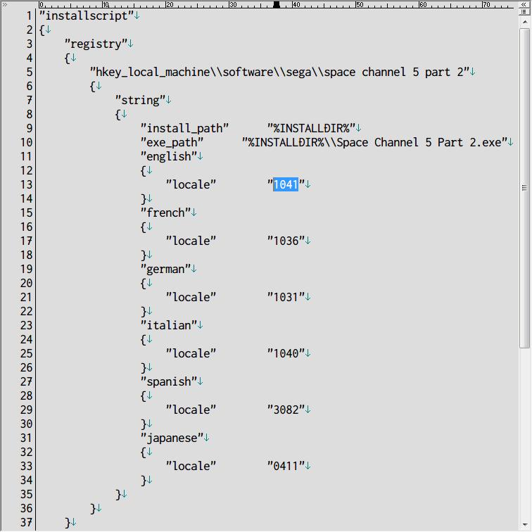 Steam 版 Dreamcast Collection 日本語化メモ、Space Channel 5: Part 2 日本語化方法、Space Channel 5: Part 2 がインストールされているフォルダにある install.vdf をテキストエディタで開き、english ネスト(入れ子)にある locale 1033 を 1041 に変更して保存