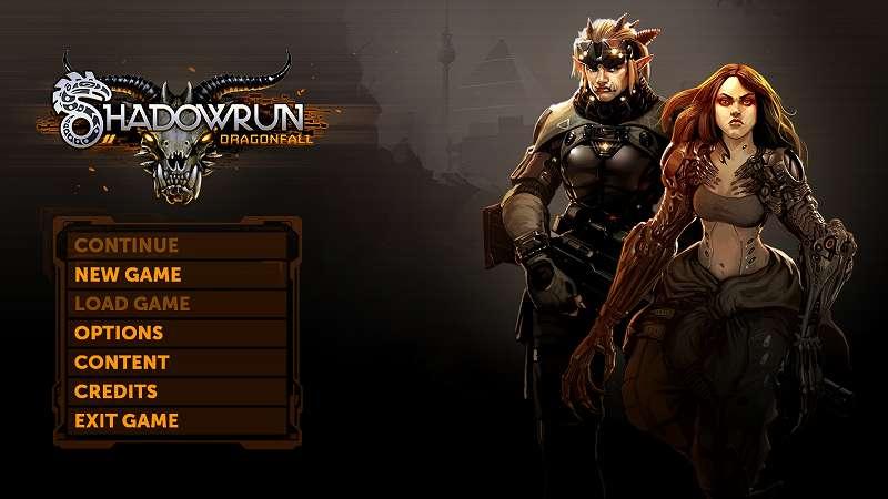 GOG 版 Shadowrun Returns と Steam 版 Shadowrun Returns では起動時のゲーム画面の背景が異なる、これは GOG では DLC を別途インストールするのに対して Steam では最初から DLC がインストールされている状態のため(画像は Steam 版 Shadowrun Returns)、NEW GAME では Shadowrun: Dragonfall と The Dead Man's Switch(日本語化している場合は デッドマンズ・スイッチ) が選択できる