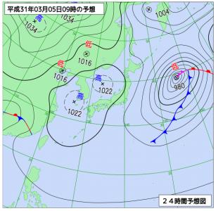 3月5日(火)9時の予想天気図