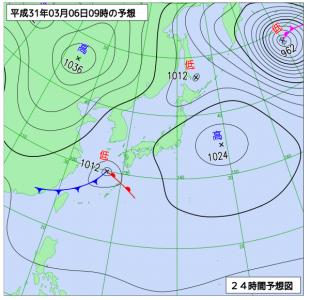 3月6日(水)9時の予想天気図