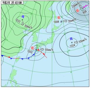 3月6日(水)15時の実況天気図
