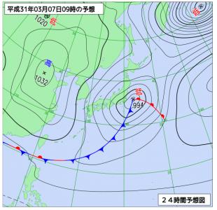 3月7日(木)9時の予想天気図