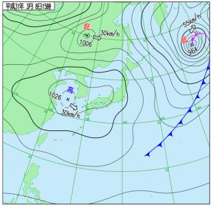 3月8日(金)15時の実況天気図