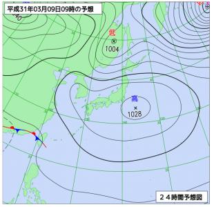 3月9日(土)9時の予想天気図