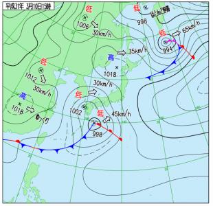 3月10日(日)15時の実況天気図