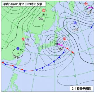 3月11日(月)9時の予想天気図