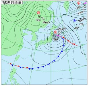 3月11日(月)15時の実況天気図