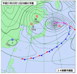 3月12日(火)9時の予想天気図