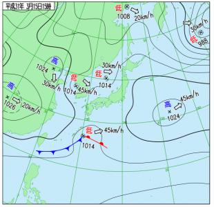 3月15日(金)15時の実況天気図