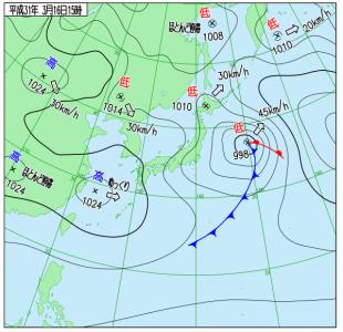 3月16日(土)15時の実況天気図